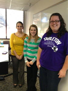 "TSMRI Interns (from left) Becca Escobar, Victoria Greer and Bree Kingston present ""Who's Creeping You?"" on Wednesday. (Alyssa Winn/Texan News Service)"