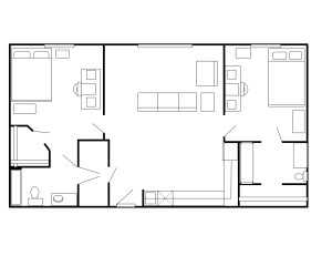 The floor plan for the two bedroom, two bath apartments currently is for one student per bedroom. (Photo courtesy of Tarleton State Universiy)