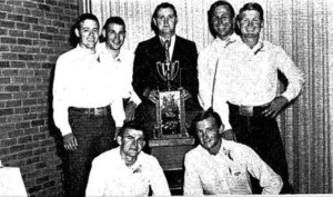 Tarleton's National Intercollegiate Rodeo Champions of 1967 were honored at homecoming the same year.  Members of the team were (from left) Charles Bitters, Johnny Edmonson, Randy Magers, Coach Carl Chumney, Lionel Lane, Bobby Hungate and Billy Albin.  (File Photo, The J-TAC 1967)