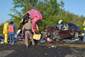 Two Tarleton State University students were among four people killed in a horrific accident Sunday on U.S. Highway 281. (Courtesy photo by Miguel Chavarria, Stephenville Empire-Tribune)