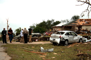 Emergency personnel continue to work the scene where an EF-4 tornado struck Granbury, Texas, the night of Wednesday, May 15. (K'Leigh Bedingfield, Texan News Service)