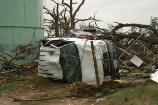 Vehicle rollovers were among the wreckage where an EF-4 tornado struck Granbury, Texas, the night of Wednesday, May 15. (K'Leigh Bedingfield, Texan News Service)