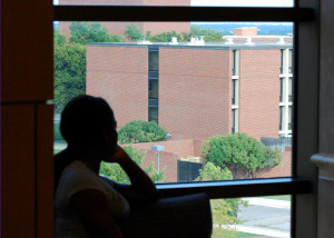 The victim looks onto Traditions Hall where the attack occurred.  (Megan Kramer, Texan News Service)