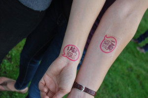 "Students at Whitman College in Washington received ""I Ask For It"" temporary tattoos on ""Ask For It"" Day, as part of a sexual assault awareness campaign. (Photo courtesy of All Students for Consent)"