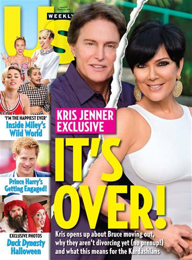 This cover image released by US Weekly shows the exclusive announcement about the break-up of celebrity couple Bruce Jenner and Kris Jenner. The couple confirmed they've split and have been separated for a year.  (Photo Courtesy of AP Photo/US Weekly)