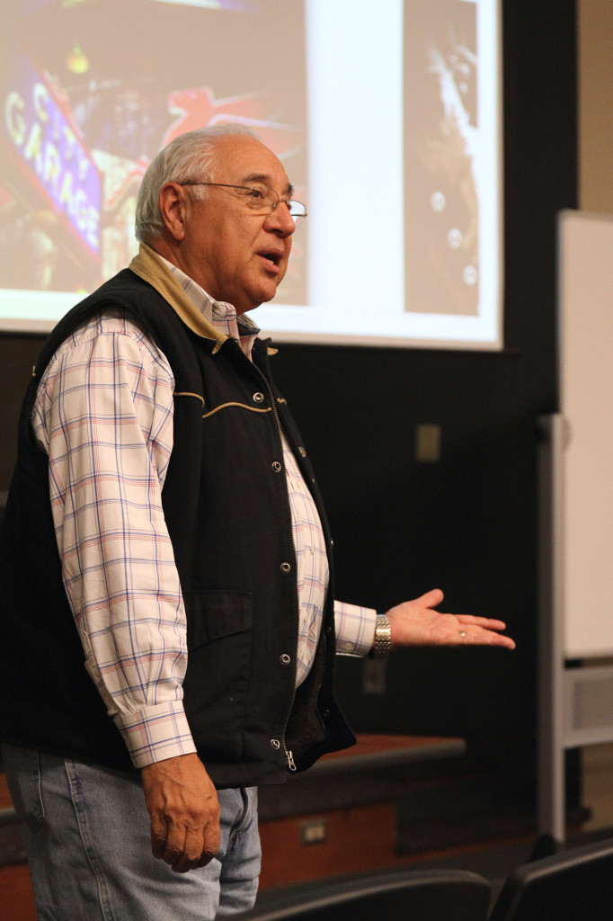 """Be bold enough to ask for the job...take the initiative,"" former White House Photographer David Valdez said to Tarleton students on Nov. 18, 2013.  (Kurt Mogonye, Tarleton State University)"