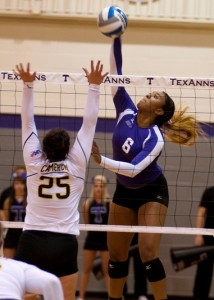 TexAnn Jazmine Green had a career high .529 hitting percentage Saturday, Nov. 2, 2013 against the Kingsville Javelinas (Photo courtesy of Tarletonsports.com)