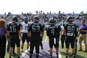 Tarleton Texan football players suit up for the game against South Western Oklahoma in camouflage jerseys in honor of our veterans.  (Trevor Peele, Texan News Service)