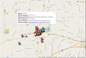 Crime reports are uploaded into DocumentCloud and linked to the corresponding crime in each map. Texan News