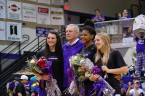 The TexAnn seniors were honored at half time during the men's game.Photo by Azia Branson