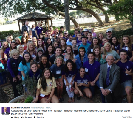 Sixty or more Tarleton Transition Mentors gathered at Rusty Jergins' home March 27 for a TTM event.Photo courtesy of Dr. Dominic Dottavio's Twitter account