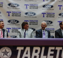 From left to right: Charlie Gilchrist, CEO of Southwest Ford in Weatherford, Doug Montgomery, Owner of Texstar Ford in Stephenville, Dr. Dominic Dottavio, and Coach Lon Reisman.Photo by Todd Coley