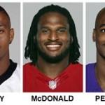 FILE - These 2014 file photos show NFL football players, from left, Arizona Cardinals' Jonathan Dwyer, Carolina Panthers' Greg Hardy, San Francisco 49ers' Ray McDonald, Minnesota Vikings' Adrian Peterson and Baltimore Ravens' Ray Rice. (AP Photo/File)