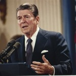 FILE - In this Oct. 19, 1983 file photo, President Ronald Reagan speaks during a news conference at the White House in Washington. President Barack Obama's impending unilateral order awarding legal status to millions of immigrants is not unprecedented. Two of the last three Republican presidents _ Ronald Reagan and George H.W. Bush _ did the same thing in extending amnesty to family members not covered by the last major overhaul of immigration law in 1986. There was no political explosion then comparable to the one Republicans are threatening now. (AP Photo/J. Scott Applewhite, File)