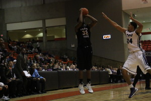 TaShawn Mabry completed a double-double in the loss to TCU with 23 points and 10 rebounds.Photo by Azia Branson