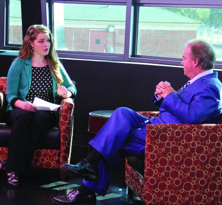 Texan News' Bethany Kyle sat down with TAMUS Chancellor John Sharp last week. Photo by Kurt Mogonye