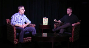 Jack Cochran (right) interviews Doug J. Swanson (left) about his novel Blood Aces.