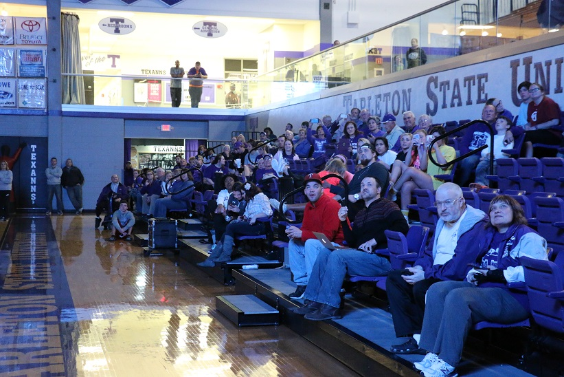 Fans packed into the lower level of Wisdom Gym to watch the selection show. Photo by Travis M. Smith