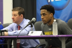 Marsell Holden addressing the media following the victory. Photo by Justin Pack