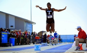 Euphemia Edem mid-jump at the NCAA Division II Outdoor Track & Field Championships in Allendale, MI.  Photo Courtesy of Tarleton Athletics