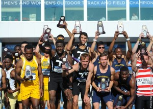 The men's 4x400m relay takes the stand with their first place plaque after a photo finish race with conference rivals Angelo State.  Photo Courtesy of Tarleton Athletics