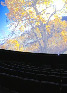 The screen of the planetarium is curved, and the seats recline further than the seats of a typical movie theatre. Photo by Keauno Perez