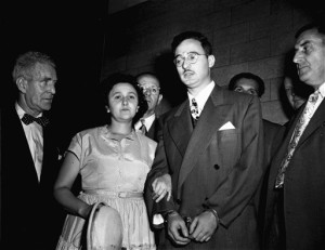 "FILE -  In this 1951 file photo, Ethel and Julius Rosenberg are shown during their trial for espionage in New York.  The couple is accused of conspiring to recruit her brother, David Greenglass, into gathering ""classified information concerning the atomic bomb for the Soviet Union."" The federal government has unsealed new grand jury testimony in the sensational Cold War spying case of Julius and Ethel Rosenberg. The couple was executed in 1953 after being convicted in New York of conspiring to give atomic secrets to the Soviets. The previously sealed testimony is from David Greenglass, the brother of Ethel Rosenberg and the government's star witness in the trial. (AP Photo, File)"