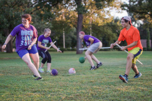 Bertie Gardner (left) is seen playing Quidditch with other Tarleton QuidKids team members.(Photo by Cameron Cook)