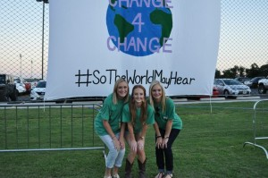 Delta Zeta sisters (left to right) Heather Stroven, Mackenzie Head and Ali Wilkinson took part in the Change for Change event hosted by their sorority.(Photo by Kelsey Poynor)