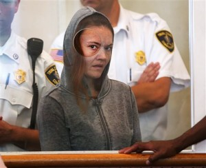 Rachelle Dee Bond is arraigned on charges of acting after the fact in helping to dispose of the body of her daughter, the girl dubbed Baby Doe, in Dorchester District Court, on Monday, Sept. 21, 2015, in Boston. Bella Bond, 2, was known as Baby Doe until she was identified almost three months after her remains washed up inside a trash bag on a Boston Harbor beach. The judge ordered Bond held on $1 million cash bail and Bond's boyfriend, Michael McCarthy, held without bail on murder charges. (Pat Greenhouse/The Boston Globe via AP, Pool)
