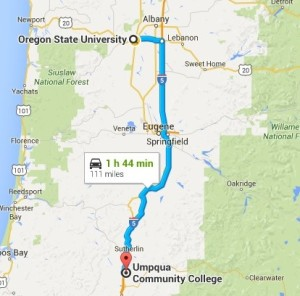 Tarleton's Baptist Student Ministry will travel 111 miles away from Umpqua Community College, where a recent shooting took place.(Photo from Google Maps)
