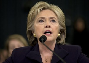 Democratic presidential candidate, former Secretary of State Hillary Rodham Clinton testifies on Capitol Hill in Washington, Thursday, Oct. 22, 2015, before the House Benghazi Committee.(AP Photo/Evan Vucci)