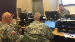"At ""headquarters"" during training, trainees would respond to one another by radio.(Photo by Rebecca Hernandez, Texan News)"
