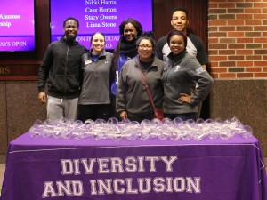 Pictured from left to right: Traivohn Jefferson, Multicultural Ambassador and MENtal Freedom, Kendyl Adams, Graduate Assistant for Diversity & Inclusion, Ivana Marsh, Intern for Diversity & Inclusion, Klarissa Perez, Intern for Diversity & Inclusion, Randi Morgan, Intern for Diversity & Inclusion and David Gillespie, MENtal Freedom member.  This photo was taken in the student center prior to the start of the event. (Photo by Sydney Burns, Texan News)