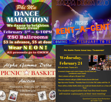 Pictured above are the flyers the Greek organizations created to advertise their events.(Photos courtesy of Phi Mu at Tarleton's Twitter page, Tarleton State KDR's Twitter page, Alpha Gamma Delta TSU's Twitter page and Phi Kappa Sigma TSU's Twitter page)